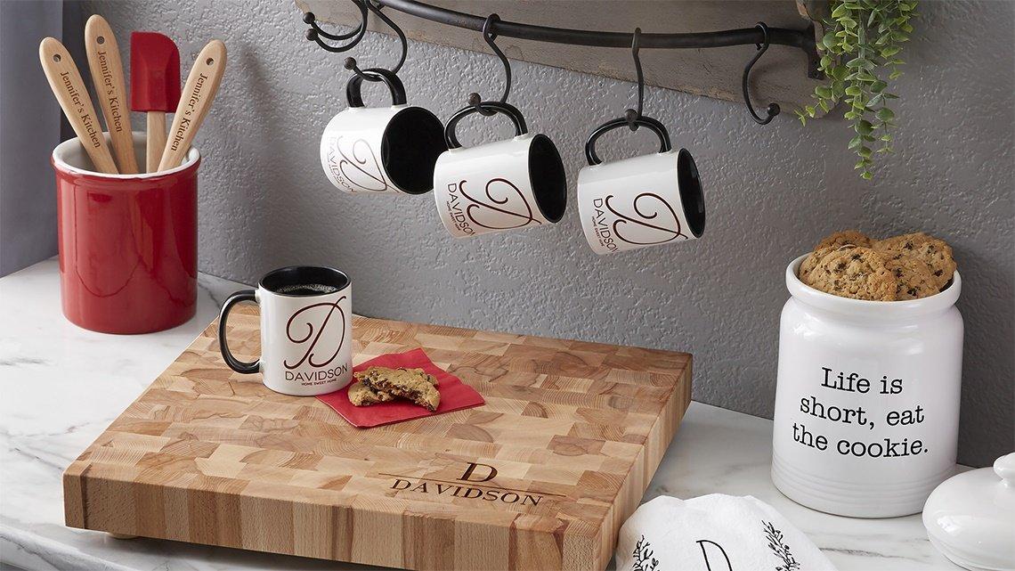 mugs, cookie jar, cutting board