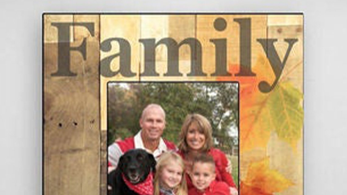 wood frame with word family, family picture