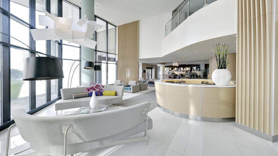 modern white hotel lobby