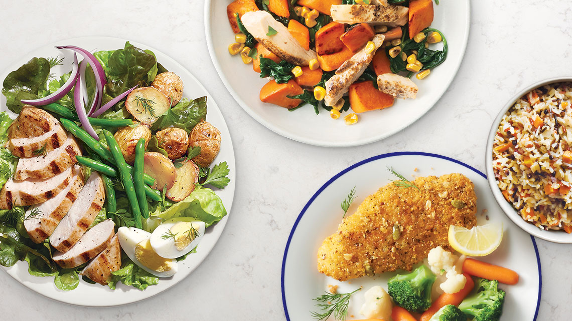 three plated dinners