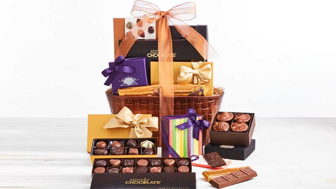 display chocolates in basket, boxes
