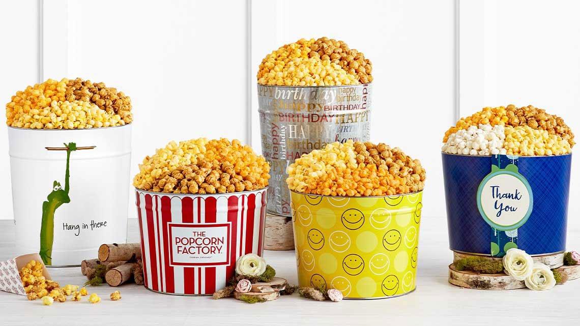 5 full tins popcorn