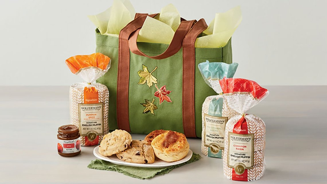Bag with fall leaves, baked goods