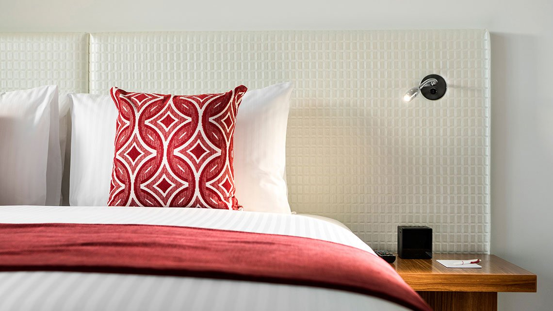 Interior view of headboard and pillow at Ramada property
