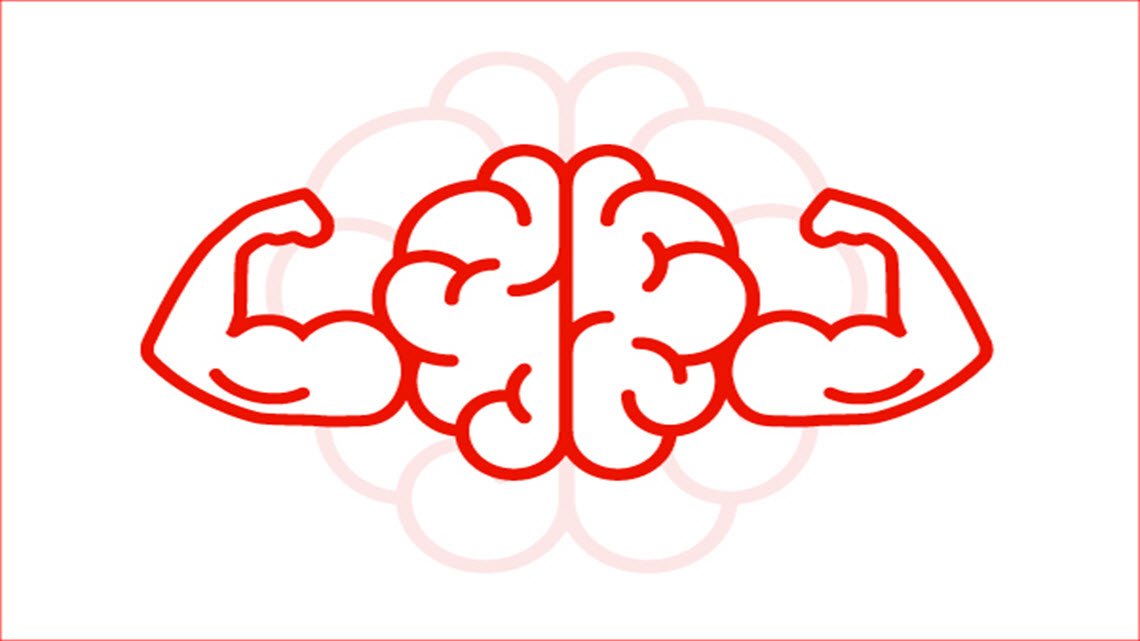 red outline of human brain with strong muscle arms on sides
