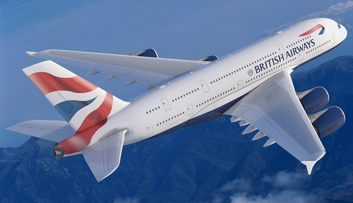 Un avión de British Airways volando