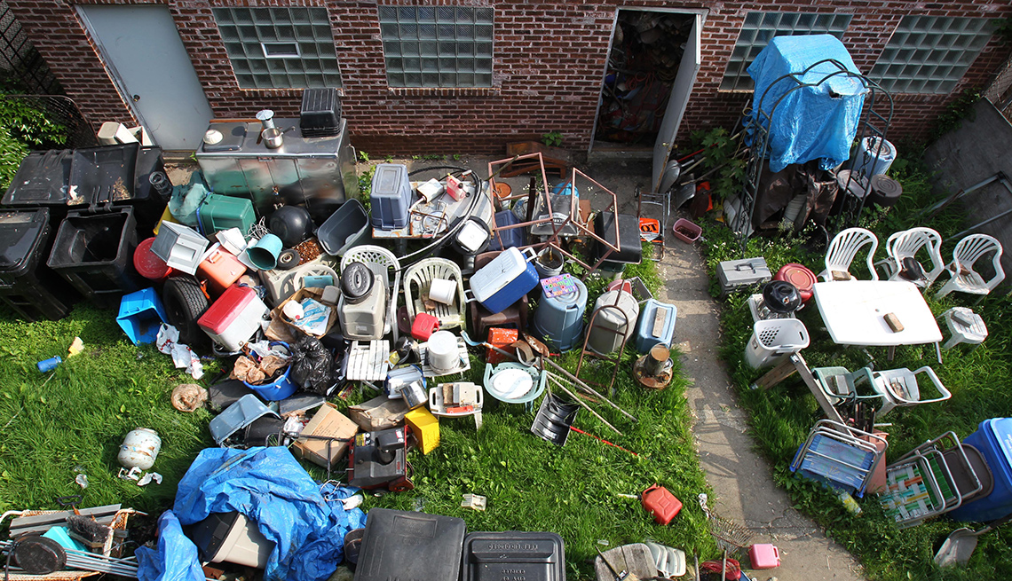 Lawn covered in personal items
