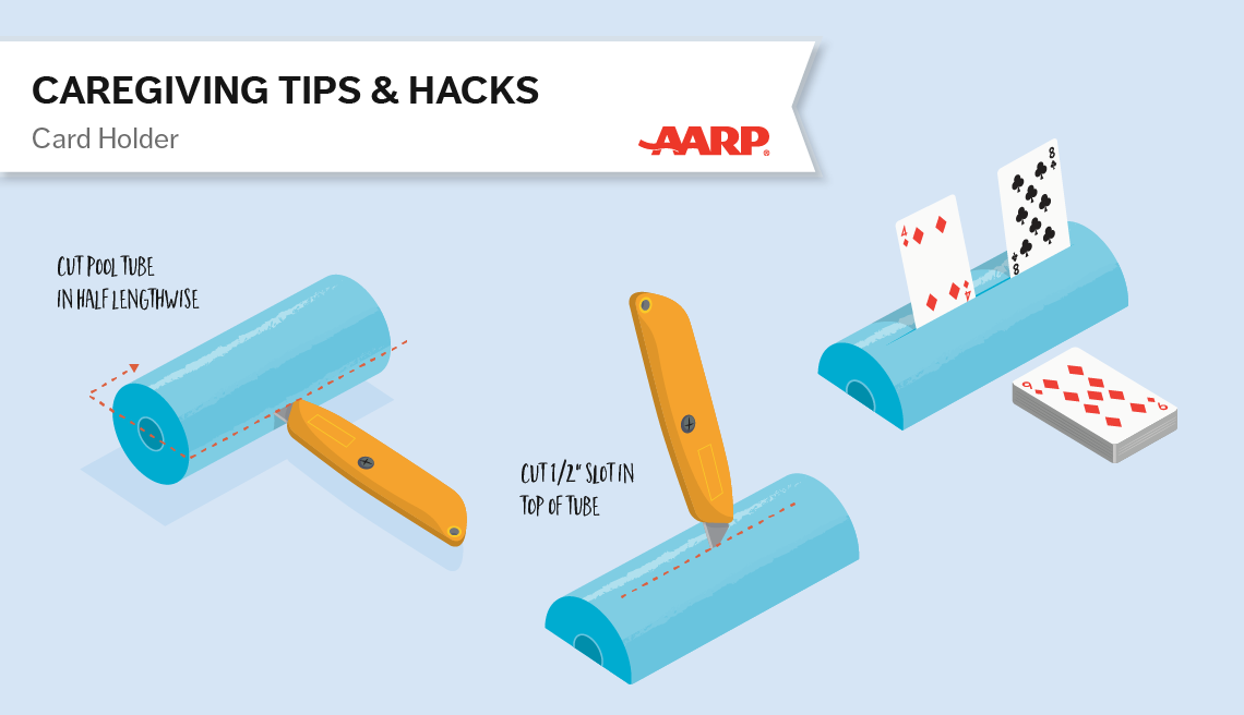 caregiving tips and hacks,an illustration of a pool tube cut as a card holder