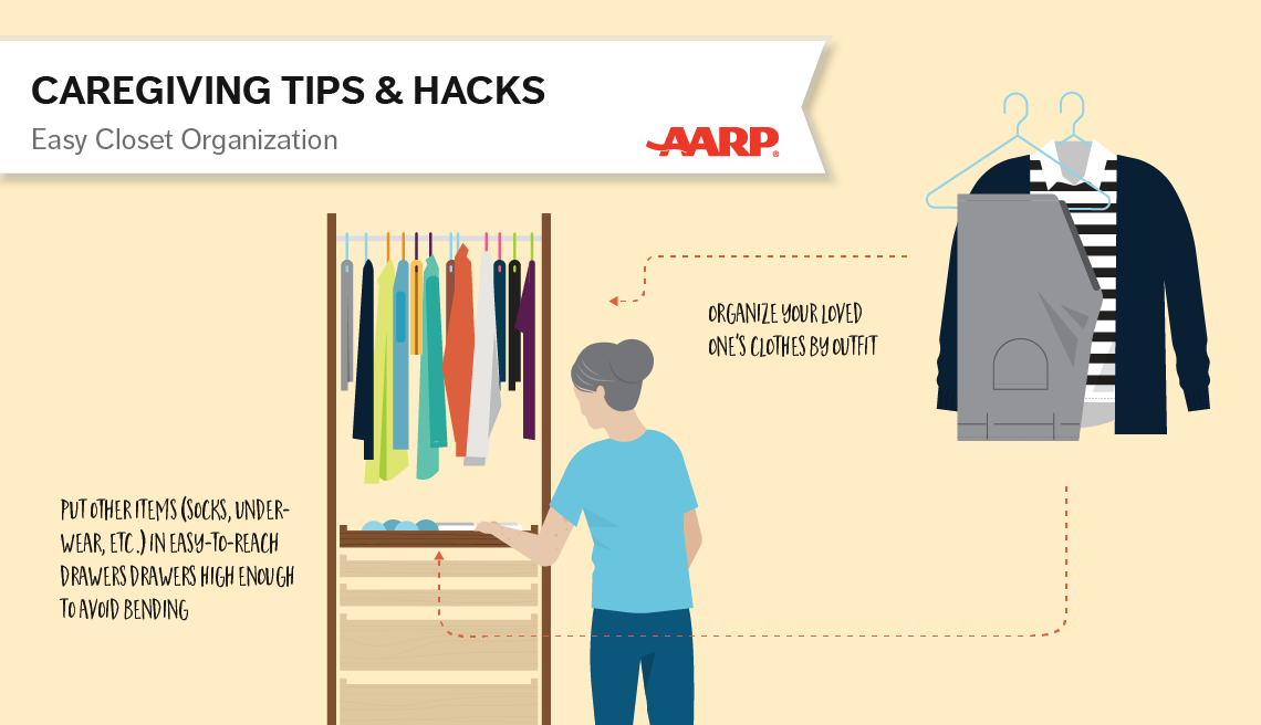 caregiving tips and hacks,an illustration of closet with a coat organizer