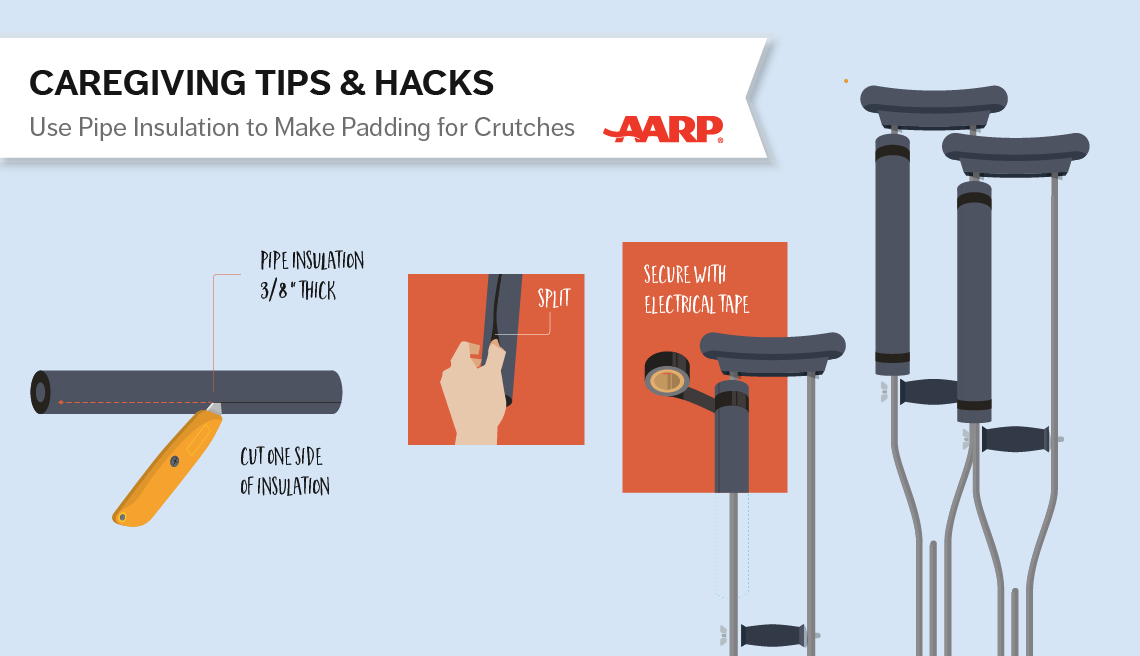 caregiving tips and hacks,an illustration of clutch padding