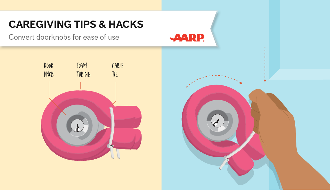 caregiving tips and hacks,an illustration of door nobs with foam tubbing wrapped around them