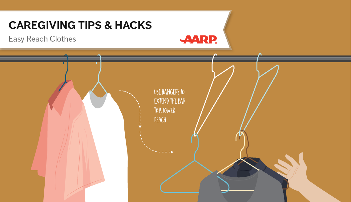 caregiving tips and hacks,an illustration of a clothes hanger connected to another clothes hanger for closer reach