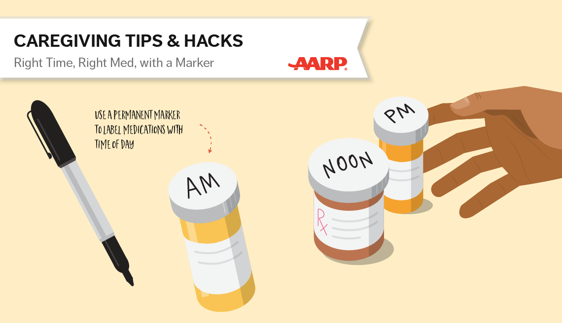 caregiving tips and hacks,an illustration of medication pen used to mark the pill bottles