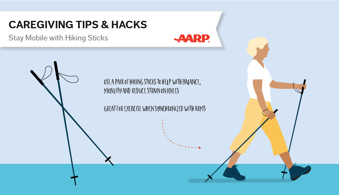 caregiving tips and hacks,an illustration of a woman using hicking sticks as she walks