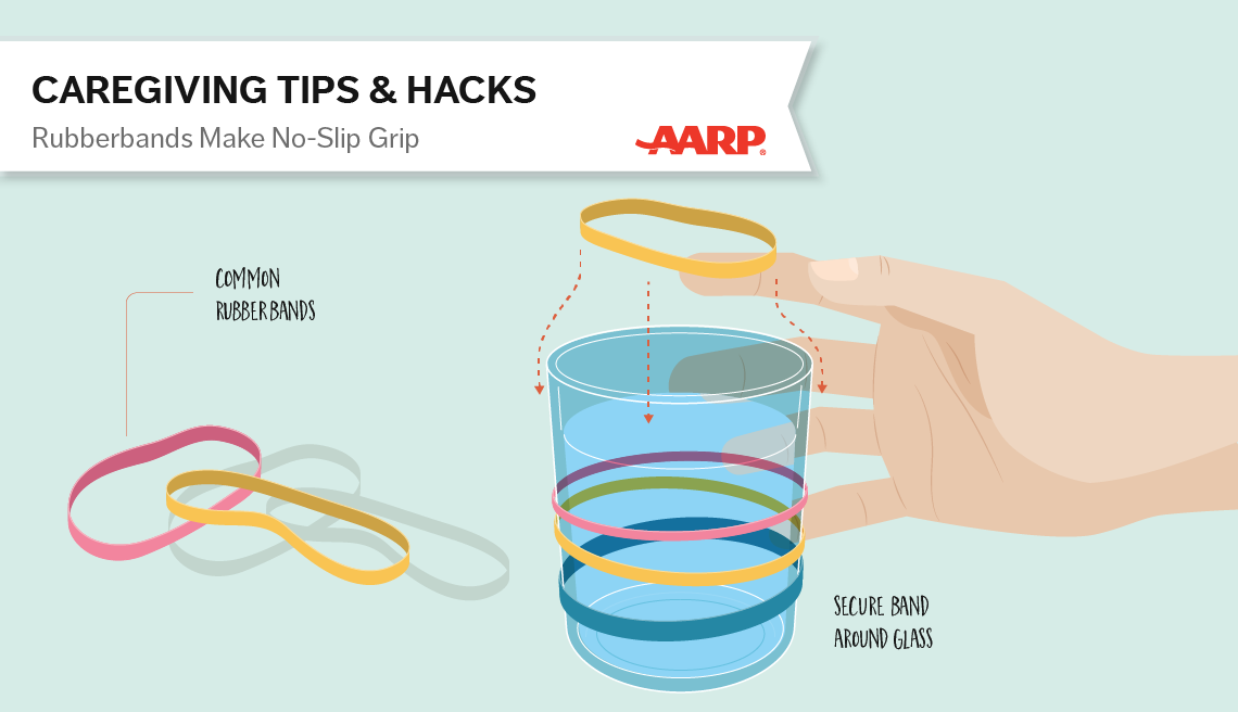 caregiving tips and hacks,an illustration of rubberband around a glass