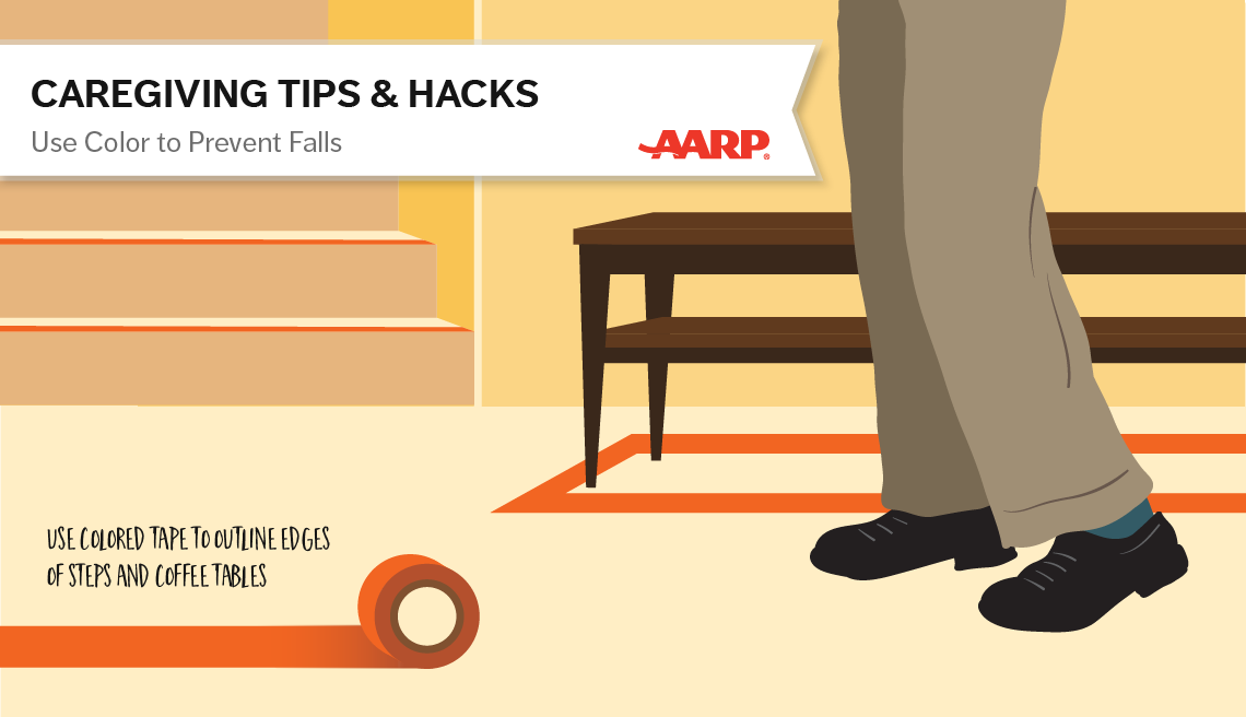 caregiving tips and hacks,an illustration of a colored tape on edges to help prevent falls