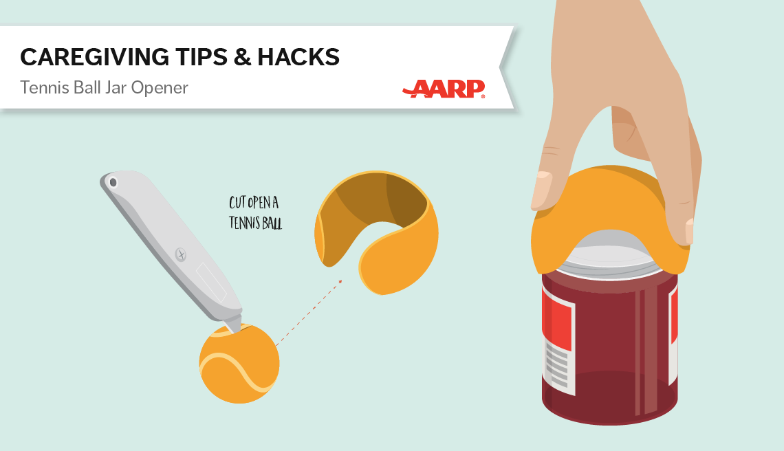 caregiving tips and hacks,an illustration of tennis ball used as jar oppener
