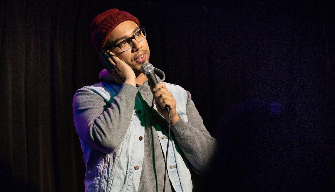 item 5 of Gallery image - Comedian Jesus Trejo on stage.