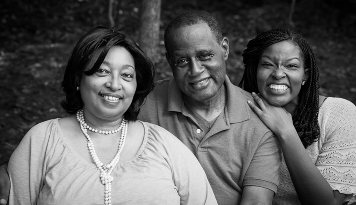 Caregiver Aisha Adkins with her parents