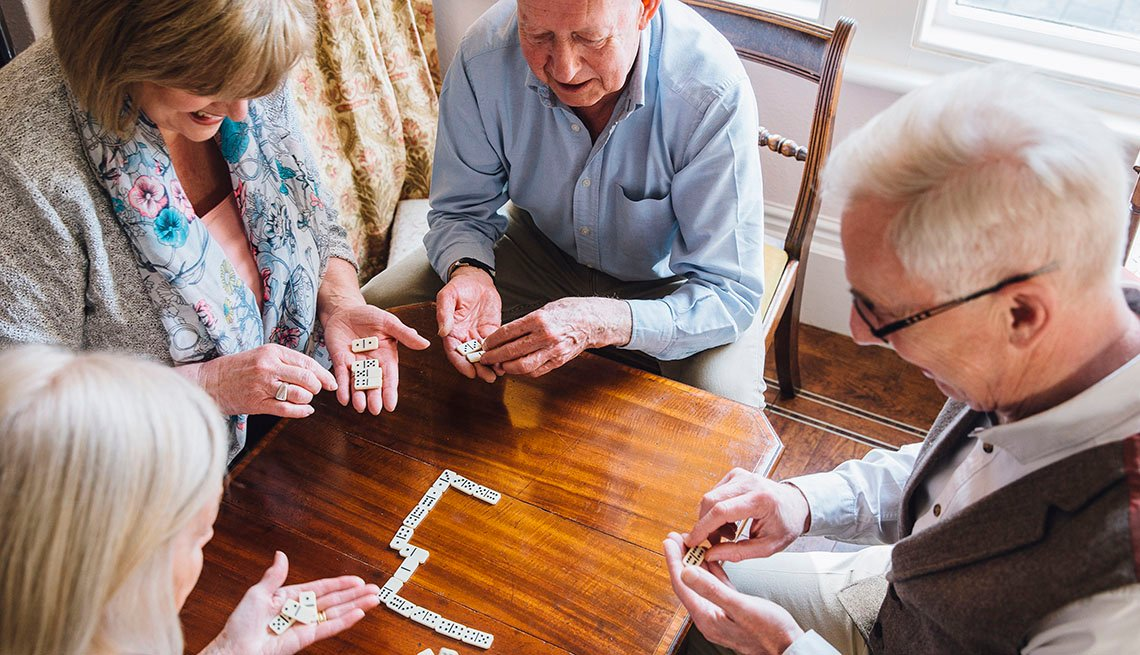 Seniors playing dominoes