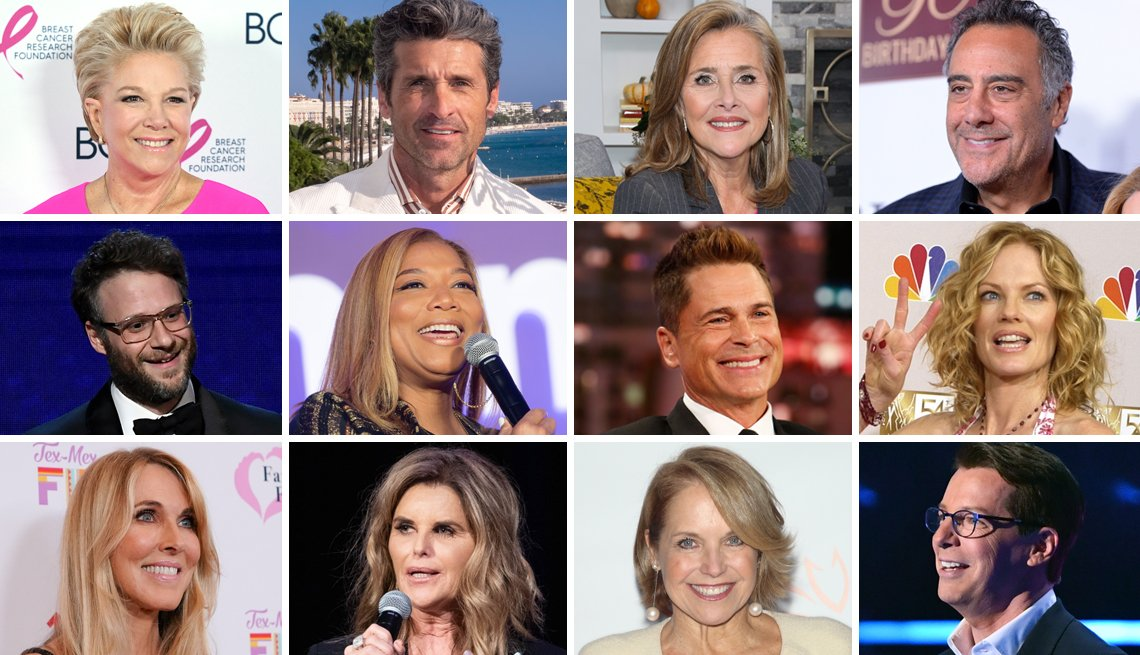 Collage of twelve celebrities that are also caregivers to a family member