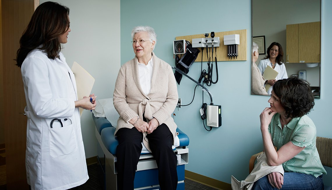 Female patient sitting on exam table in discussion with her doctor and adult daughter