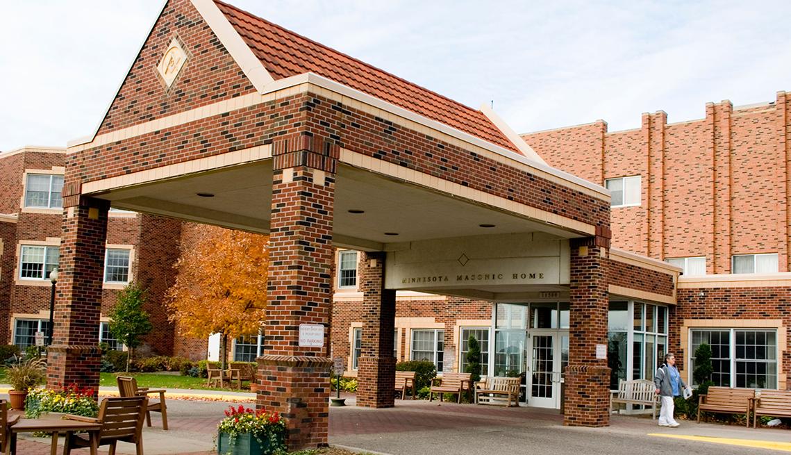 Outside of a nursing home entrance
