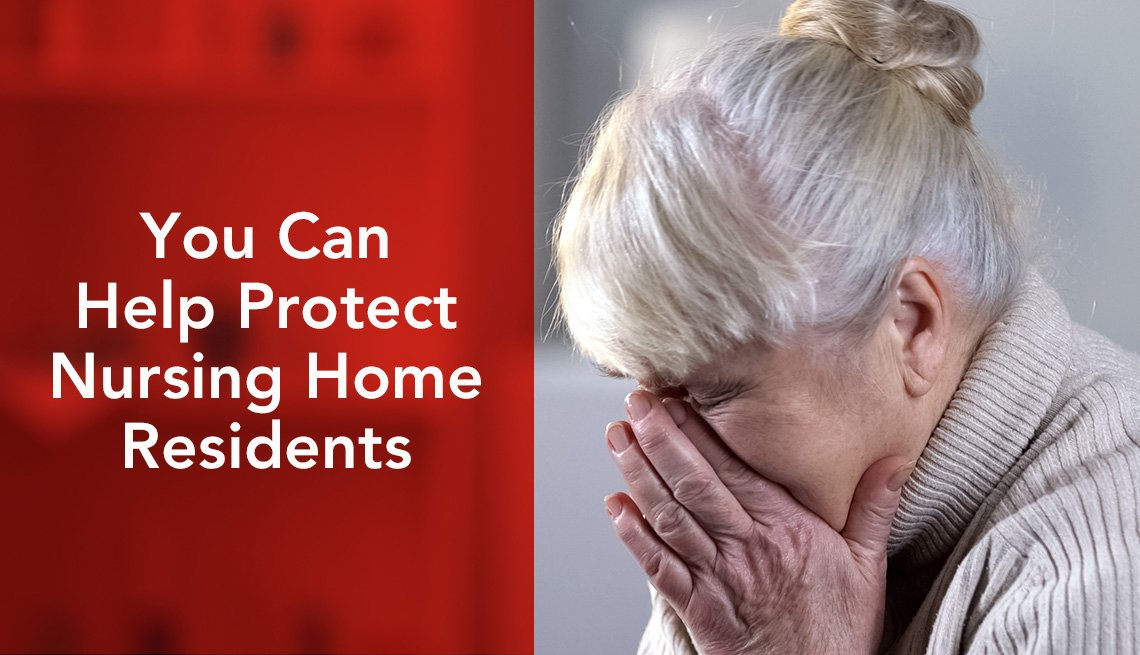 You can help protect nursing home residents. Woman sitting alone, crying.