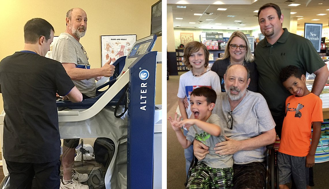 Izquierda: Bobbie Brashear, Jr. aprende a caminar de nuevo después de un derrame cerebral. Derecha: Bobbie Brashear, Jr. (centro) con su hija Jennifer, su hijo Brandon y tres nietos durante una visita a una librería.
