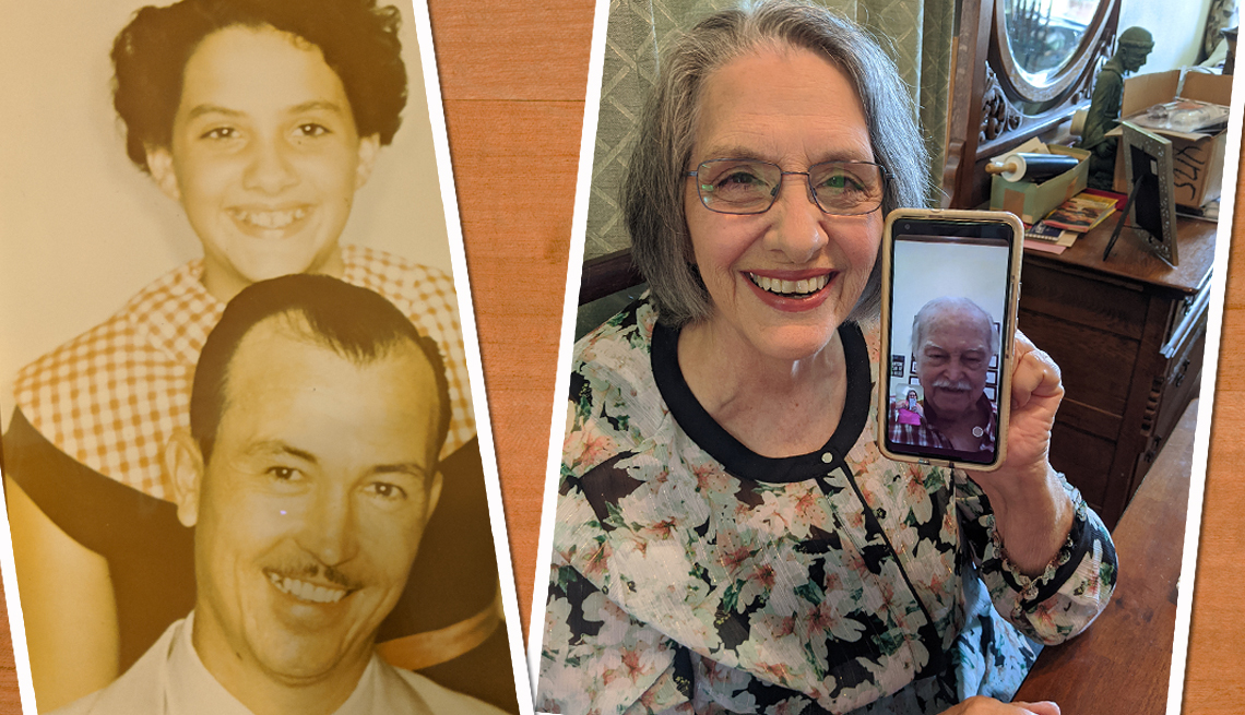 Diane Pope with her father in 1955 and a second image with them both now during a virtual visit phone call