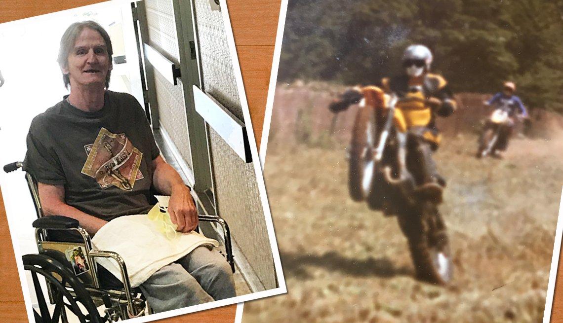 John Boyle en una silla de ruedas y una segunda imagen de John en su bicicleta de motocross
