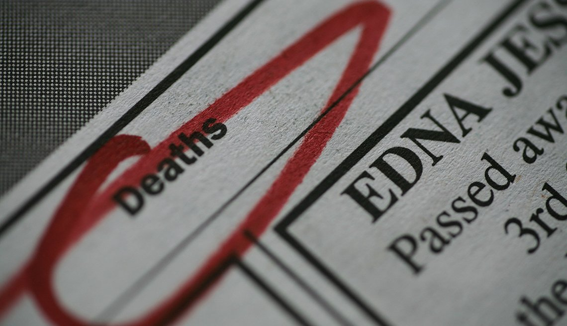 A zoomed in view of a newspaper obituary page with the word death circled