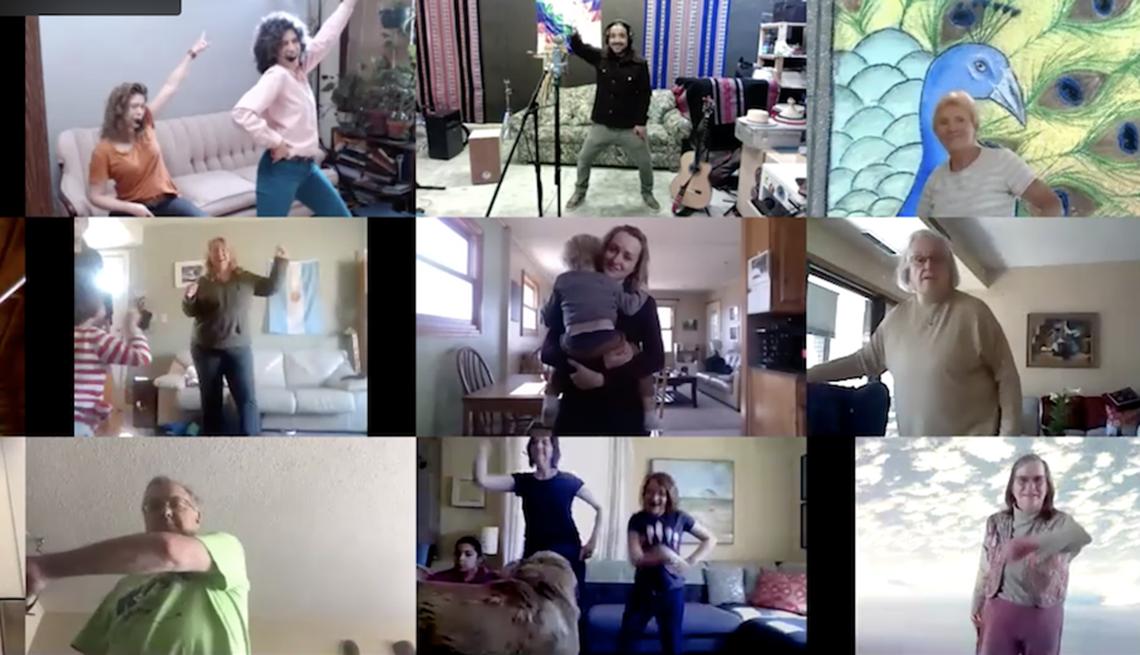 nueve pantallas diferentes de personas bailando mientras participan en un programa virtual de baile y música
