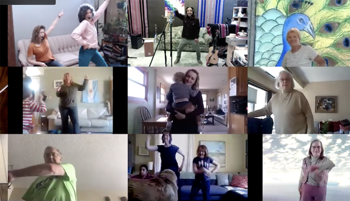 nine different screens of people dancing while participating in a virtual dance and music program