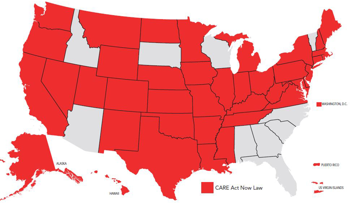map showing which states have passed the care act