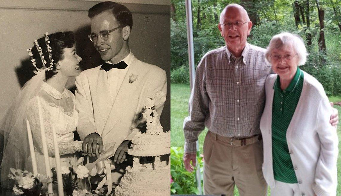 A la izquierda Margot y Tom Gray el día de su boda en 1951. A la derecha Tom y Margot en su patio en el 2016