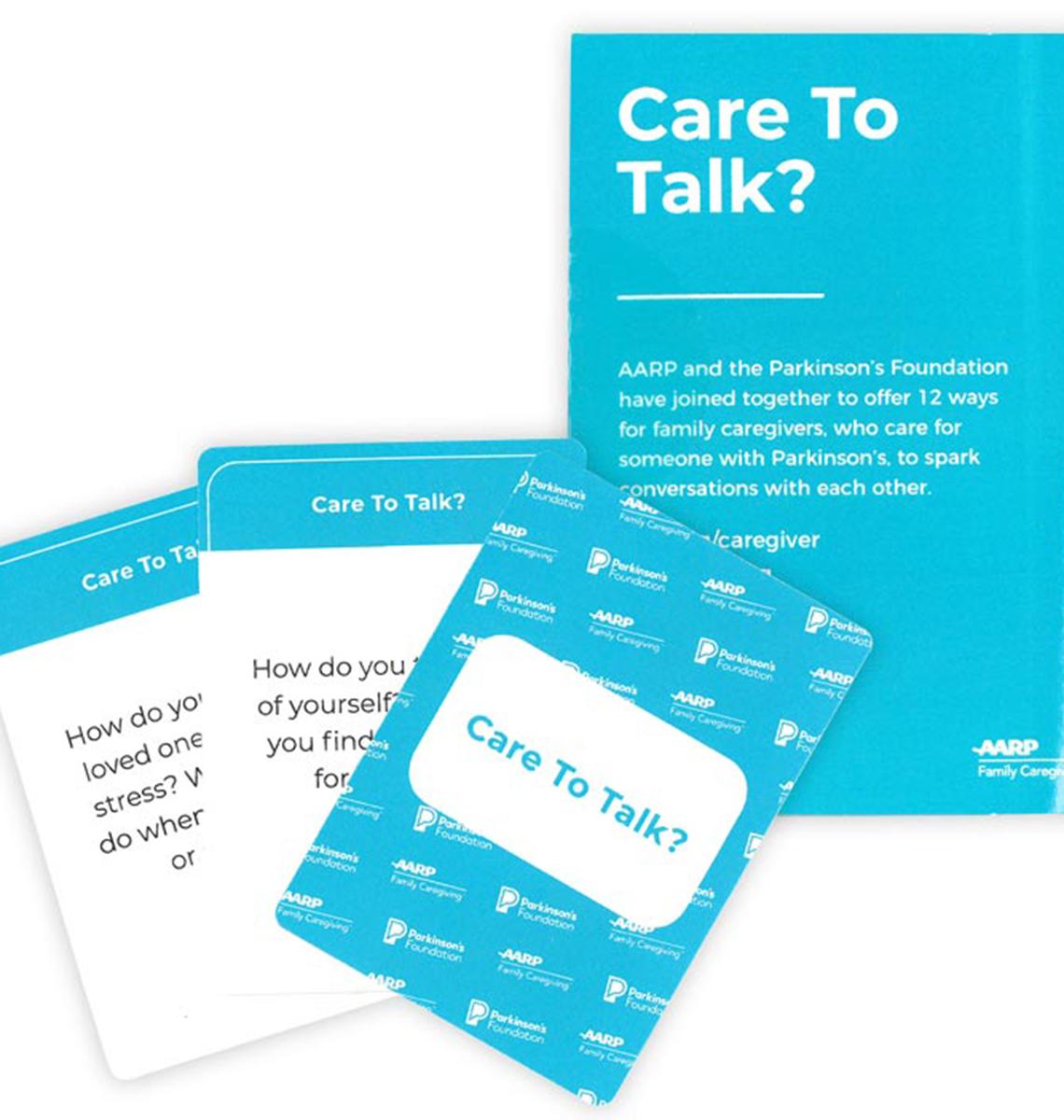 a dek of blue care to talk conversation cards
