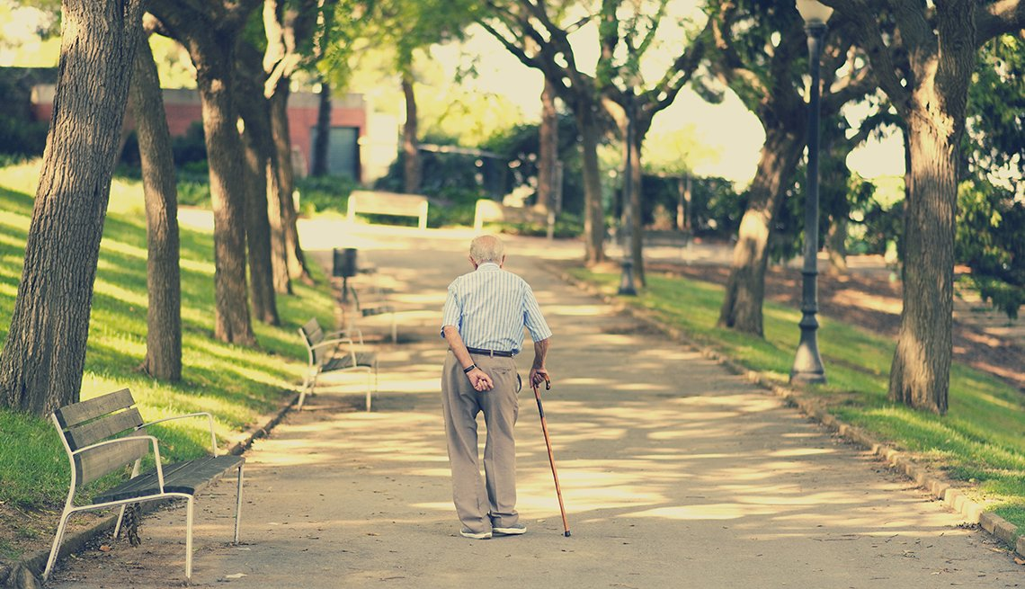 a man with a cane wandering alone through a park