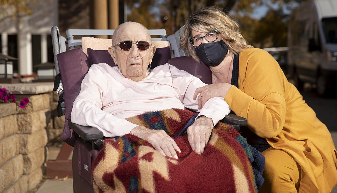 Buffy Neuberger with nursing home resident Don Redlin