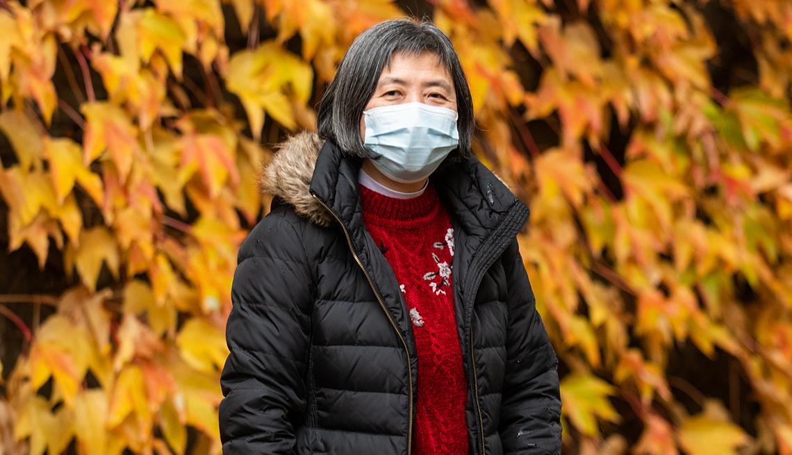 Mabel Luke wearing a face mask
