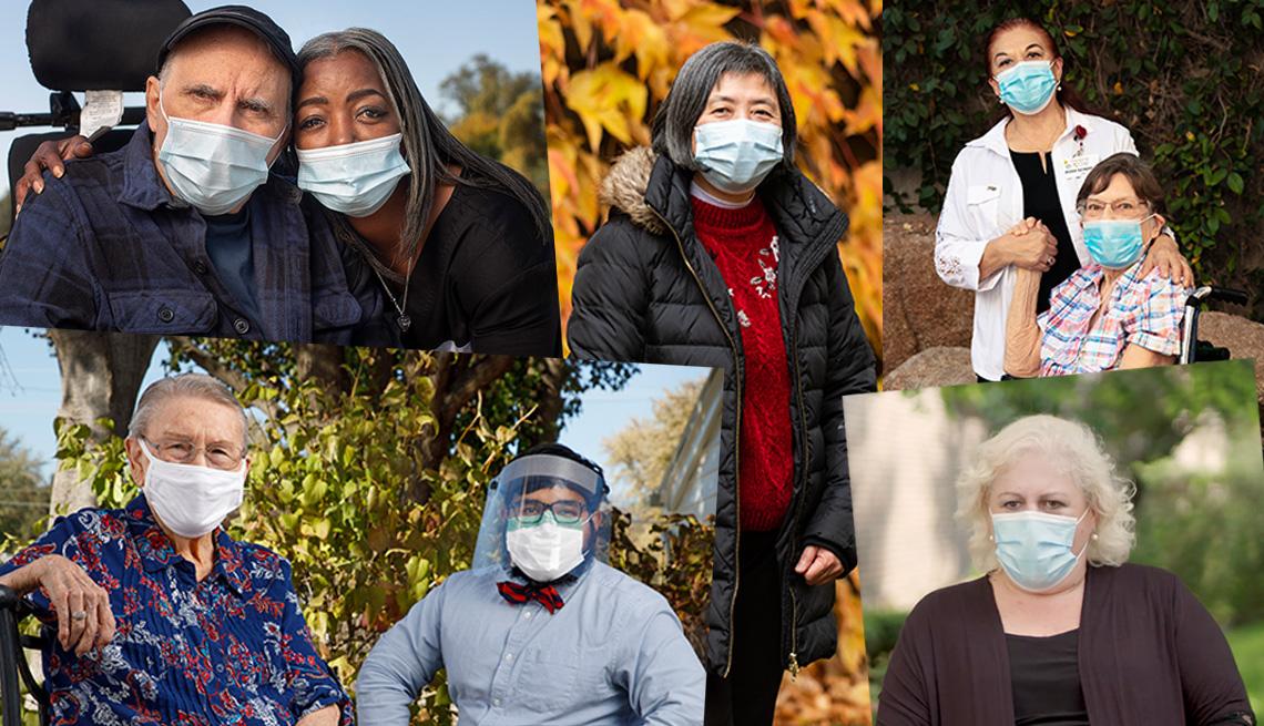 Diferentes fotos de cuidadores y residentes de hogares de ancianos.