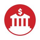 icono que muestra un signo de dólar y un banco.