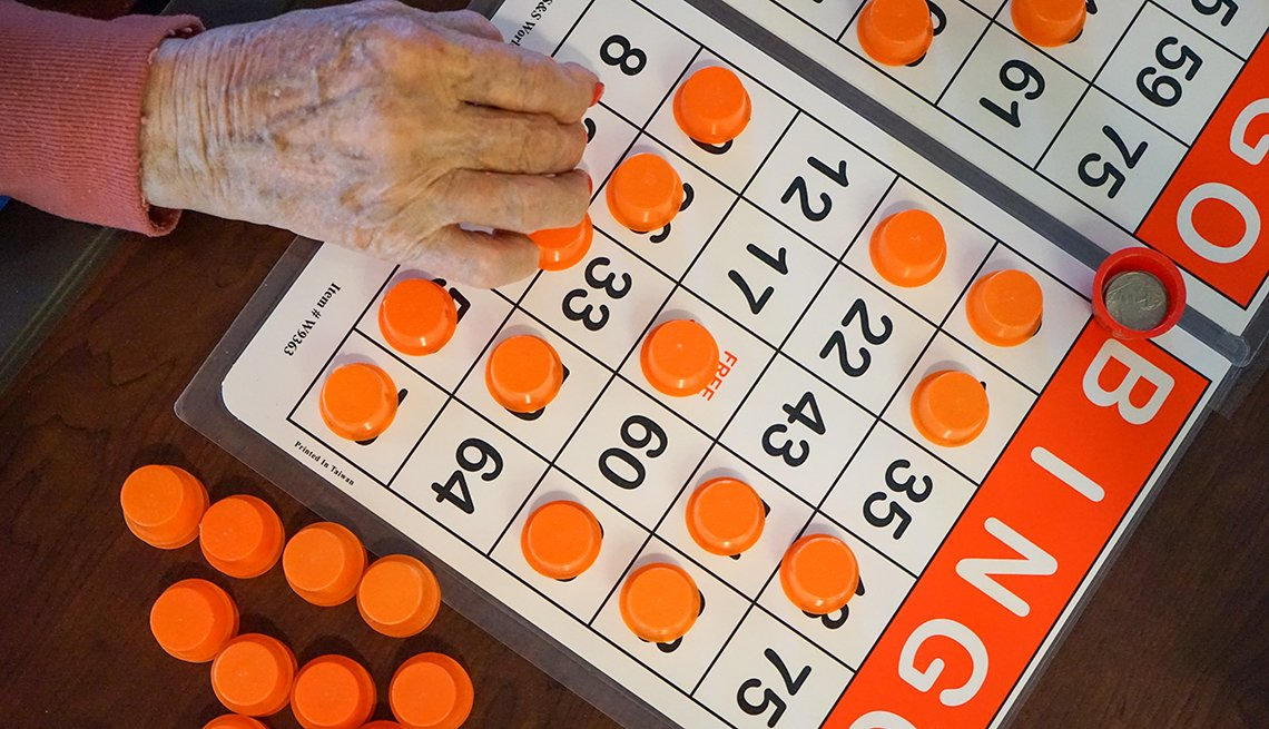 top view of a nursing home resident playing bingo
