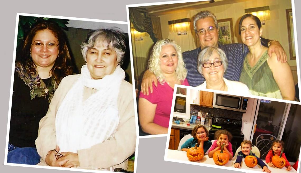 Un foto montaje de Amelia Cerbelli junto a su madre y familia.