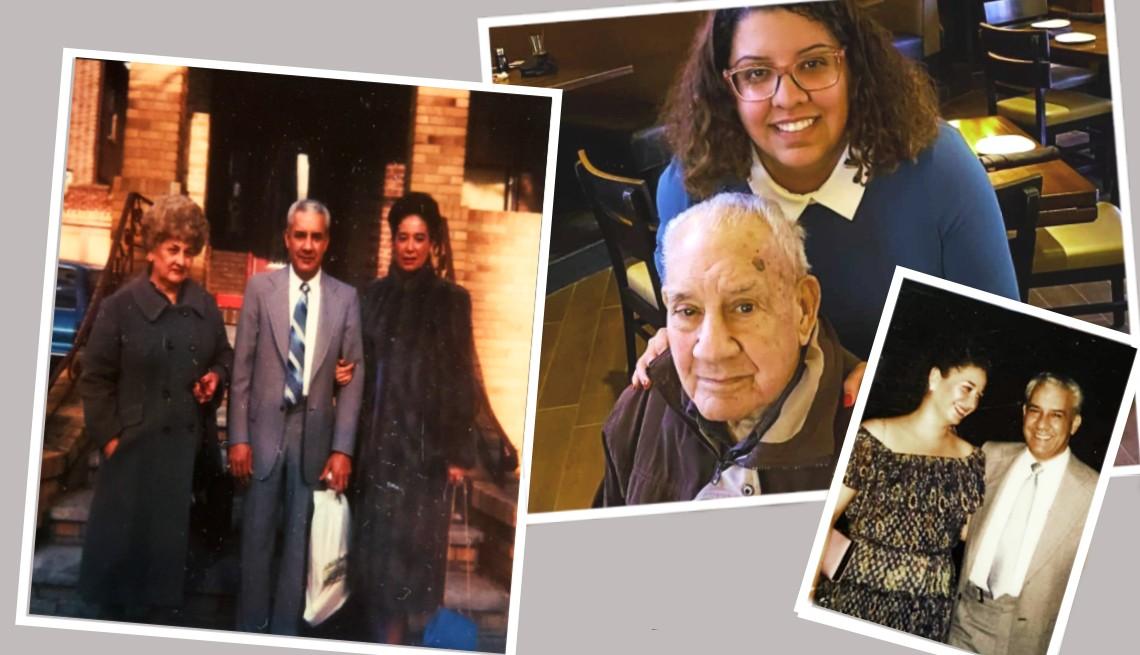 Un foto montaje con fotos de Carmen Cusido y su familia.