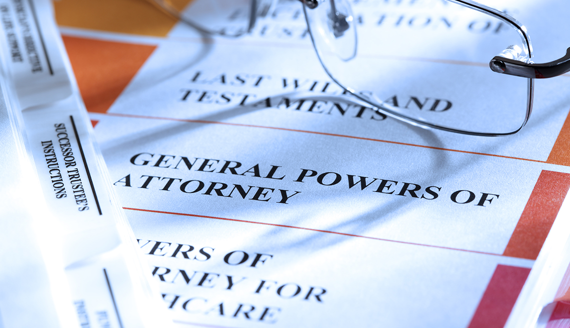 binder of legal documents includes power of attorney and last will and testament