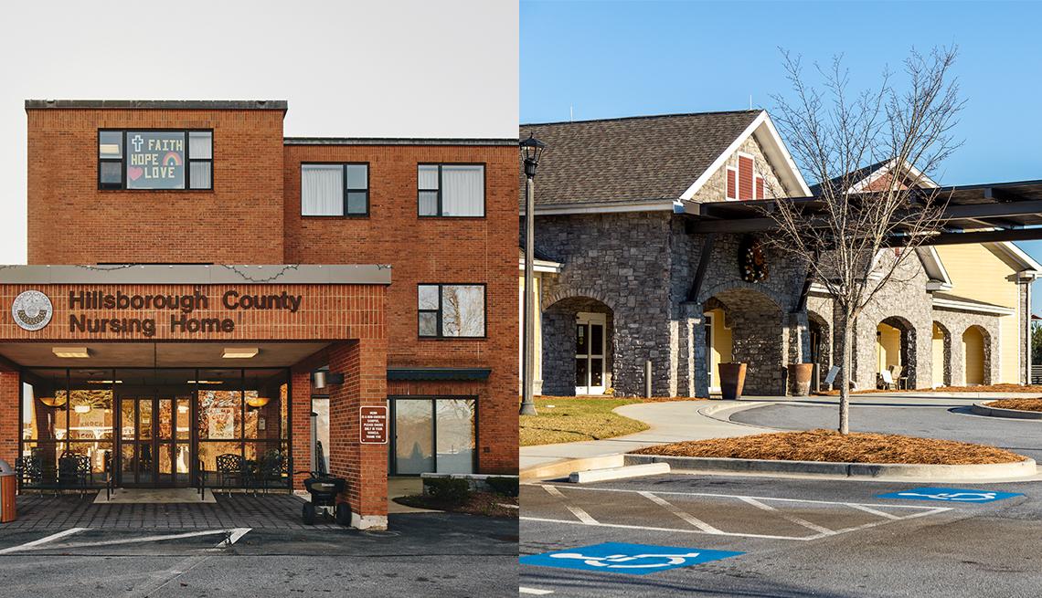 En un lado el hogar de Ancianos del Condado de Hillsborough en Goffstown, New Hampshire, y en el otro lado, el hogar de ancianos Pebblebrook en Park Springs en Stone Mountain, Georgia.