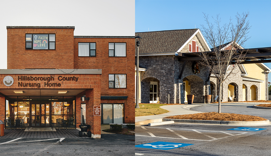 two nursing home buildings on the left is hillsborough nursing home and on the right is pebblebrook at park springs