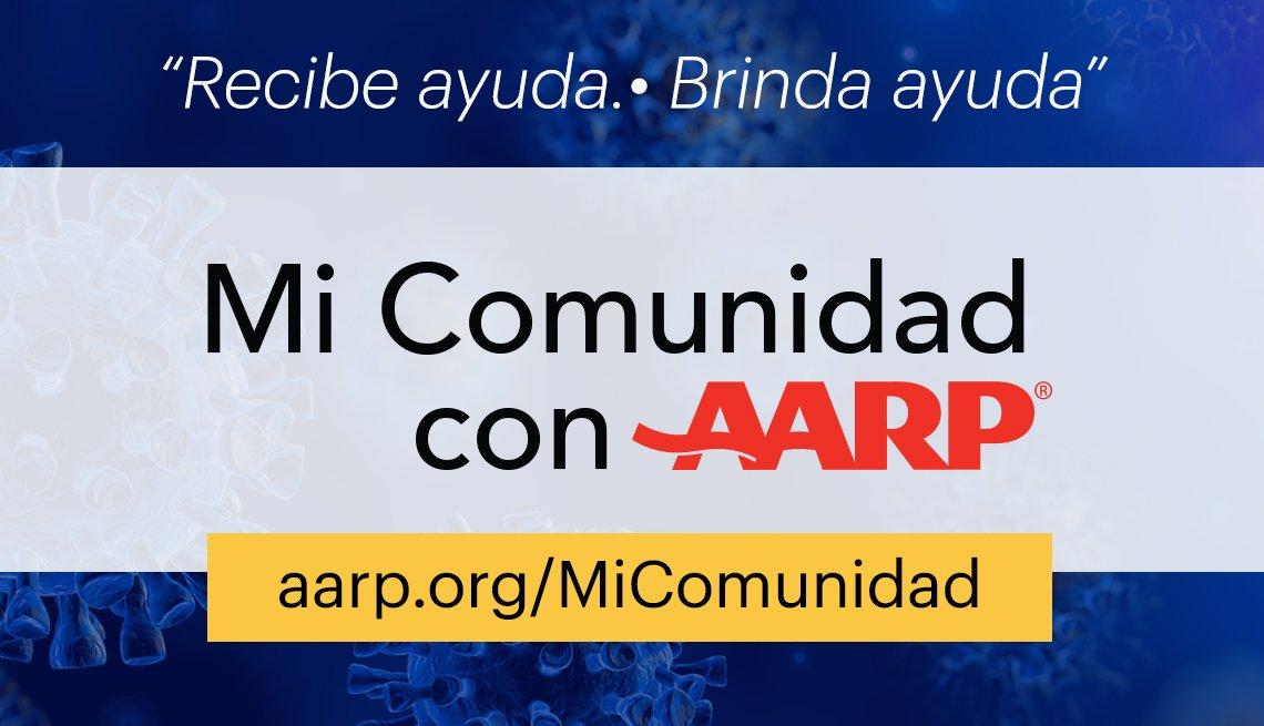 Gráfica promocional de la plataforma Mi Comunidad con AARP