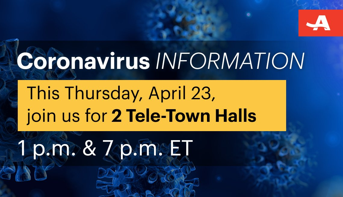 join us this thursday april twenty third for two coronavirus information tele town halls the first at one p m and the second at seven p m eastern time